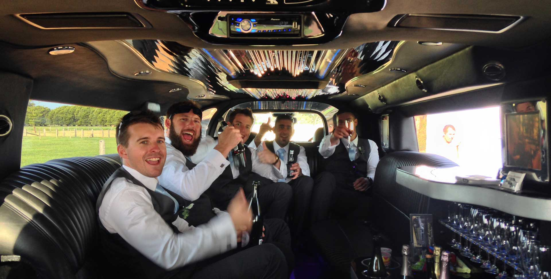 inside the Limousine Wedding Car